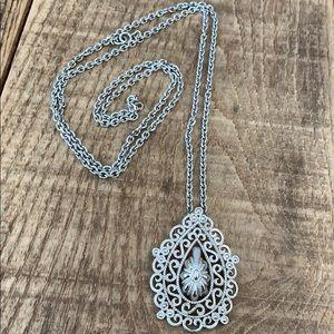 "Jewelry - Long silver costume necklace w/ teardrop charm,44"""